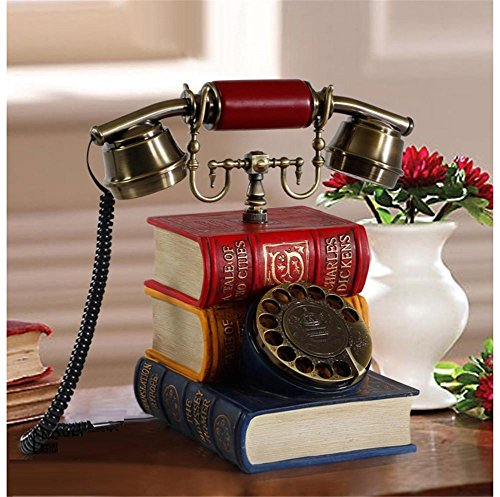 homjo-kreatives-buchform-push-button-telefon-vintage-antique-style-resin-metall-schnurgebundenes-tel