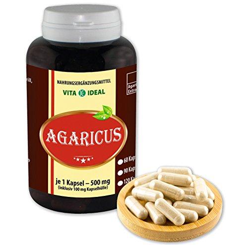 VITA IDEAL ® Agaricus Pilz Extrakt (ABM, Agaricus Blazei Murill, Mandelpilz) 360 Kapseln je 500mg, aus rein natürlichen Pilz Extrakten, ohne Zusatzstoffe