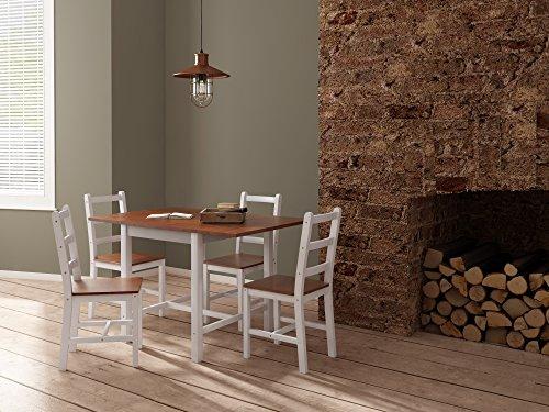 High-esstisch (Panana Esstisch Stuhl Set Klapptisch Essgruppe Tischgurppe, Esstischgruppe Sitzgruppe Esszimmergarnitur, 119 x 75 x 73 CM, Tisch und 4 Stühle, Holz - Braun + Weiß)