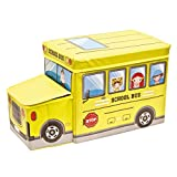 Sq Professional Kids 'Zusammenklappbar Stauraum Sitz mit 2Staufächer Spielzeug Aufbewahrungsbox–Schule Bus in Blau, grün, Pink, Rot Oder Gelb, Gelb, 55 x 26 x 31CM