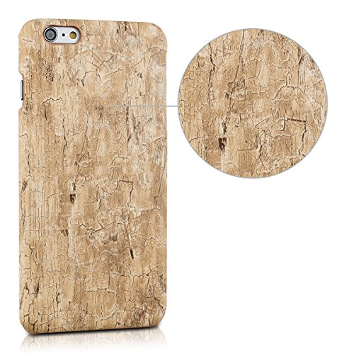 kwmobile Hülle für Apple iPhone 6 Plus / 6S Plus - Backcover Case Handy Schutzhülle Kunststoff - Hardcase Cover Marmor Design Weiß Gold Vintage Holz Hellbraun