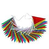 Banderines multicolores triangulares de doble cara, para interior y exterior, para bodas, cumpleaños, fiestas, celebraciones, eventos, festivales o decoración de fiesta, de iTemer 45 cm 45m*15cm*21cm