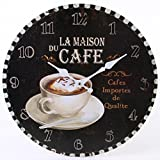 Jones Home et la Maison du Cafe Rustique Cadeau Horloge Murale, Multicolore, 34 cm