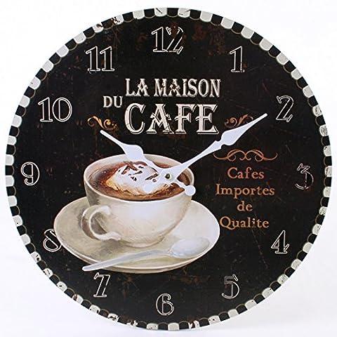 Rustic La Maison du Cafe Wall Clock, 34