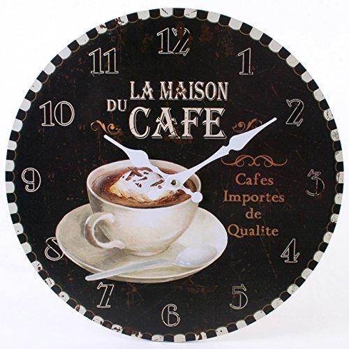 Jones Home and Gift Rustikale Wanduhr, mit Aufschrift'La Maison du Cafe', mehrfarbig, 34cm