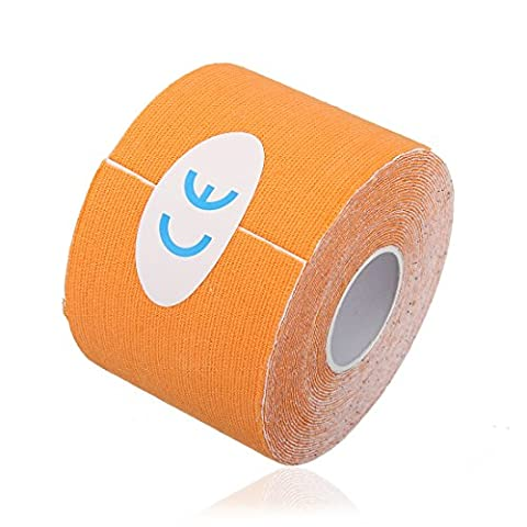 Orange 5M*5cm Kinesiology Elastic Tape Rope Sports Physio Muscle Strain Injury Support 1 Roll