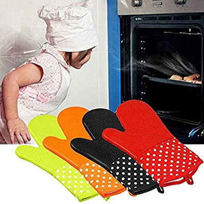 Generic red : New Extreme Heat Resistant As BBQ Gloves Kitchen Microwave Oven Glove Silicone Grill Armor Oven Gloves