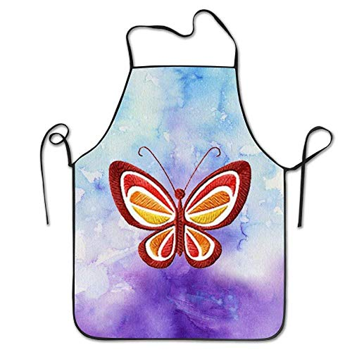 ERCGY 2019 Apron Butterfly & Flowers Embroidered Women Comfortable Kitchen Apron, Perfect for Cooking, Baking, ()