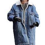 AMUSTER Winter Damen Lang Felljacke Jeansjacke Blau Steppjacke Mantel Fleecejacke Damen Warm Wintermantel Winterjacke Pelz Jeansjacken Blau