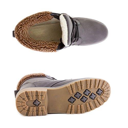 Trendige Unisex Damen Herren Schnür Stiefeletten Stiefel Worker Boots - auch in Übergrößen Grau Moskau gefüttert