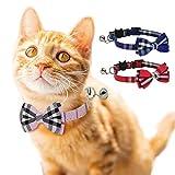 DAIXI Collare per Gatto, Staccabile con Papillon e Campana per Gattino e Alcuni Cuccioli, Regolabile da 7.8-10.5 Pollici(Rosso + Blu)