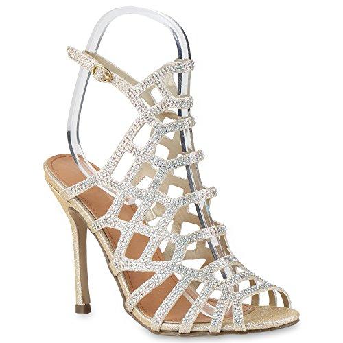 Damen Party Sandaletten Lack Schaftsandaletten High Heels Gold