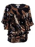 Anna-Kaci, maglia lunga da donna, multicolore, con scollo rotondo, con paillette, da sera, con maniche a pipistrello Bronze Large