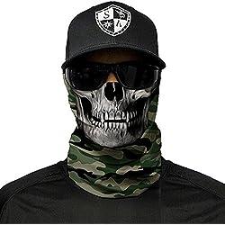 SA Fishing Company Face Shield Cagoule Plusieurs Designs Multi unkti Ons écharpe Masque Fishing Tête de Mort Skull Bandana Bandana Masque de ski moto paintball, Green Military Camo Skull Camouflage