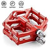 LYCAON Pedales de Bicicleta Ligero 0.64lb / par Antideslizante CR-Mo Aluminio CNC Sellado Ball Bearing, 3 Pedales de rodamiento Pedales de Bicicleta para MTB BMX con Llave (Rojo(2DU Bearing))
