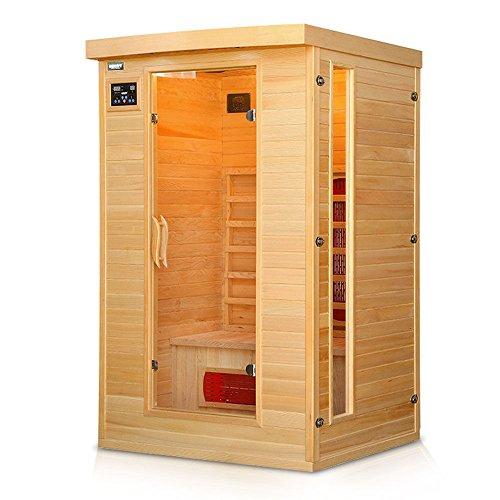 Hecht Sauna Infrarotsauna mit 5 Keramikstrahlern, Licht, MP3-Radio und beheiztem Bodenelement
