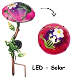 Unbekannt Solar Leuchte Pilz  Blume mit Frosch  - Pink / Violett - mit LED Licht - Han..
