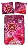 HIP 5090-H, 135cm Myrna bettwäsche, rot mit rosa/weißen Figuren und Blumen, 100 Prozent Baumwolle/Satin, Mehrfarbig, 200 x 135 x 0,5 cm