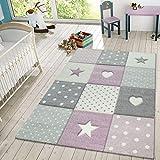 TT Home Alfombra Infantil Juego Cuadros Puntos Estrellas Corazones Pastel Rosa Y Gris, Größe:80x150 cm