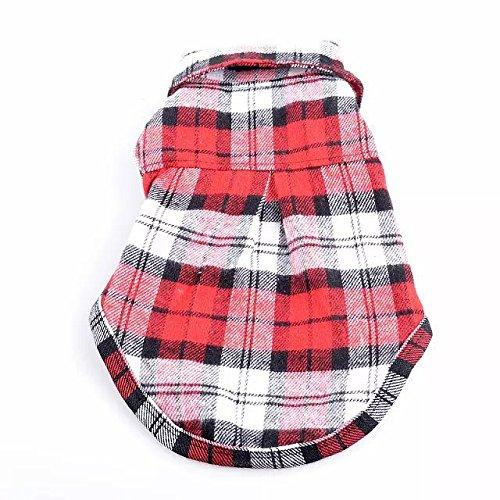 KINGDUO 100% Baumwolle Hund Karierten Streifen T-Shirt Welpen Weste Mäntel Für Kleinen Hund Kleidung Klassischen Stil-XS-Rot (Kleidung Hund-mäntel Rote)