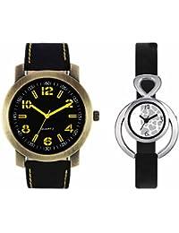 SVM VL33VT11 New Couple Combo Designer Stylish Leather & Plastic Belt Analog Watch For Men & Women