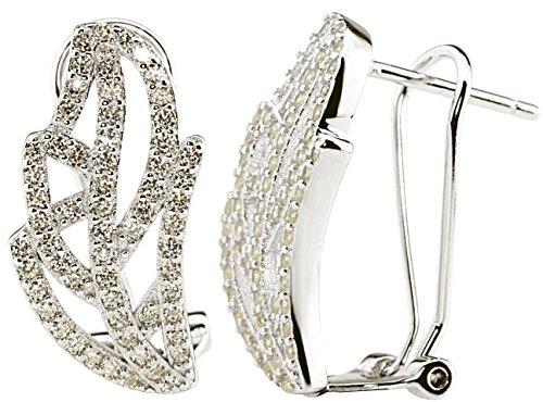 Damen-Ohrringe 925 Silber mit Clip Orhänger Ohrstecker Blatt-Form Natur Motiv Zirkonia Kristalle...