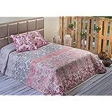 Algodón Blanco Oliva - Colcha bouti estampada, para cama de 150 cm, 250 x 270 cm, 2 fundas de cojín, 60 x 60 cm, color rojo