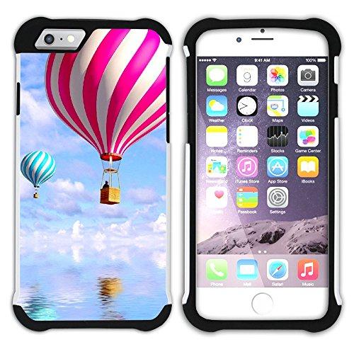 Graphic4You Heißluftballon Sicht auf den Himmel Flug Hart + Weiche Kratzfeste Hülle Case Schale Tasche Schutzhülle für Apple iPhone 6 / 6S Design #2
