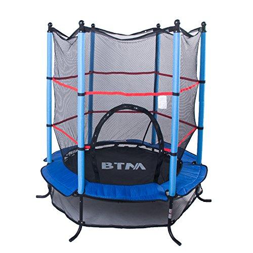 BTM - Trampolino elastico da bambini da 134 cm con rete di sicurezza per attività all'aria aperta, colori disponibili: blu, rosa, verde