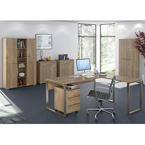 Komplettes Arbeitszimmer - Büromöbel Komplett Set Modell YOLO 1 in Riviera Eiche 7-teilig - auch alle Modelle einzeln erhältlich