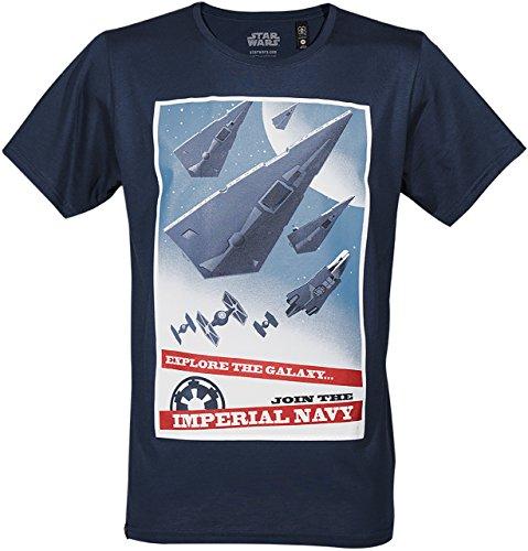 GOZOO Star Wars Classic T-Shirt Herren Join The Imperial Navy blau M (Classic Star Wars-t-shirts)