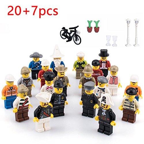20 Minifiguren + 7 Zubehören Set Berufsfiguren Gemeinschaft Gemeinde 27 teilig Spielzeug für Kinder, Mini Spielfiguren mit LEGO kombinierbar