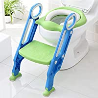 Roebii Baby Potty Training Seat Ladder, Safety Kid Potty Toilet Seat With Foldable Step Stool Ladder/Soft Or Hard Cushion/Non-Slip Double Armrest/Anti-Skid Feet, For Boy Girl Baby