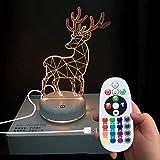 DONJON Night Hirsch LED Lampe mit Wireless-Fernbedienung 16 Farben für Kinder Familie Ferienhaus Dekoration (Geburtstagsgeschenke, Weihnachtsgeschenke, usw.) (deer)