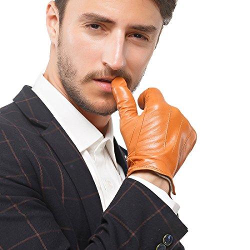 nappaglo hommes est authentique écran nappa des gants de cuir pur cachemire conduite winter warm mittens avec garniture (s (palm corpulence:16.5-17.8cm), tan (sans écran))