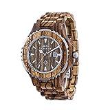 AMEXI Zebra Wooden Armbanduhr für Herren Kalender Uhren Holz Armband Uhren braun