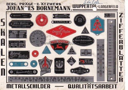 Postkarte. Schilder, Berg. Präge- u. Ätzwerk, Wuppertal-Langerfeld. Skalen, Metallschilder, Ziffernblätter in Qualitätsarbeit