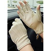 Guantes de ciclismo para hombre con medio dedo para protección solar de verano, guantes de pantalla táctil, cortos, sedosos, antideslizantes, finos, transpirables
