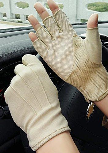 Baumwollhandschuhe Fingerlose Handschuhe Rutschfeste Fahrradhandschuhe Sonnenschutz Halbfinger Fäustlinge Laufhandschuhe für Autofahren Motorrad Fahrrad Sport Camping Wandern Outdoor Männer Frauen