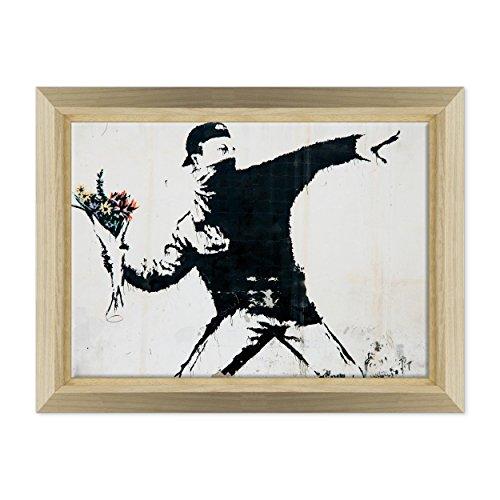 Bild auf Leinwand Canvas-Gerahmt-fertig zum Aufhängen-Banksy-Kunst Street Art-Launcher von Blumen Dimensione: 50x70cm E - Colore Legno Naturale Design