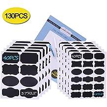 Nardo Visgo-Etichette per pennarello a gesso liquido - 130 pezzi adesivi riutilizzabili con due penne a gesso cancellabile- etichetta per la bomboniera, bottiglia, contenitore, serve alla casa, alla cucina ed all'ufficio (nero)