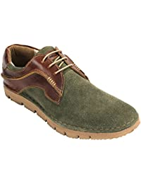 tZaro Olive Corporate Casual Suede Leather Shoes