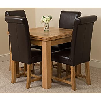 Richmond 90cm - 150cm Square Oak Extending Dining Table and 4 Chairs Dining Set with Washington Brown Leather Chairs