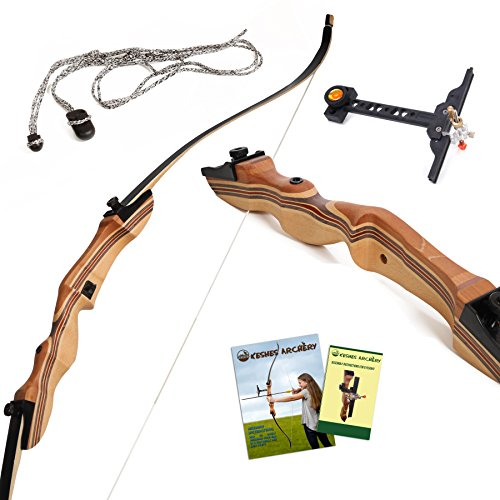 "Takedown Hunting Recurve Bow Archery - 62"" hunting bow 15-35lb draw back weight - Right and Left handed - Included Rest, Stringer Tool, Sight and Full assembly instructions -Keshes Archery"