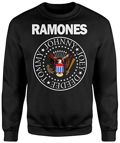 Felpa Unisex Ramones Classic Logo Falcon Color - Felpa Set in girocollo LaMAGLIERIA Nero