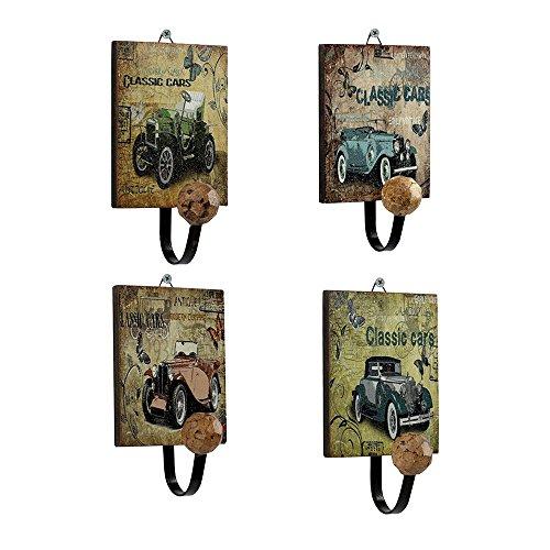 Forepin® 4 Pezzo Retro Europea Modello Jeep Classico Appendiabiti Supporto Gancio a Muro Parete Hanger per Vestiti, Cappotto, Tovagliolo, Accappatoio Porta Hanger - Disegno Vintage 2