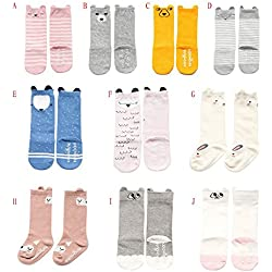 Blaward Baby Toddler Kids Knee High Socks Newborn Cartoon Prints Calcetines largos antideslizantes para 0-4Years