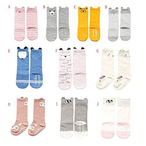 Blaward Baby Kleinkind Kinder Kniestrümpfe Newborn Cartoon Prints Anti-Slip Lange Socken für 0-4Years (Knie-hohe Socken Mit Griffen)