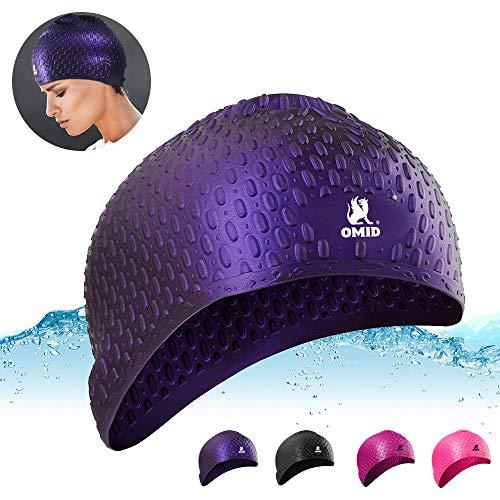 OMID Badekappe wasserdichte Silikon Badekappe Schwimmhaube für Dreadlocks oder Kurze Haare für Erwachsene Männer Frauen Jugend Kinder