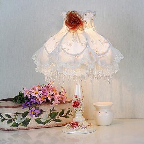 Modeen American Countryside Tissu Abat-jour Lampe de table Chambre à coucher Salon de séjour Table de résine Lumière Creative Desktop Desk Lamp High: 52 cm